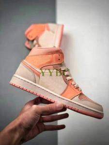 1 metà SE arancione chiaro rosa e albicocca Jumpman High Mens 1s OG Girls Scarpe Sneakers Donna Chaussures Trainer