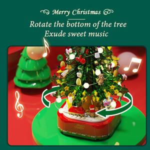 Sembo Block Expert Tree Music Box Set Train Village Santa Claus Cadeau Bâtiment Créateur Christmas Kid Jouet 0215