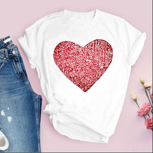 Women Print 90s Love Geometric Short Sleeve Fashion Casual Lady Tops T Shirt Womens Clothing Tees Female T Shirt
