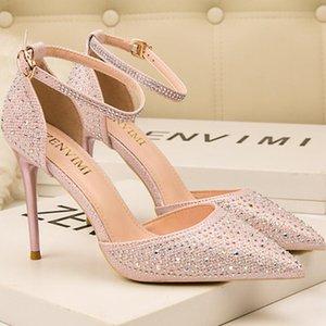 Designer rhinestone pointed toe 10cm stiletto high heels women wedding shoes office lady party pumps