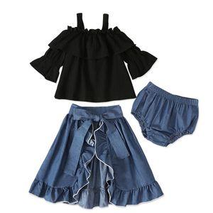 Nueva venta caliente 3 unids conjuntos de ropa para niñas Set Sling Top + Denim Falda + PP Shorts Girls Boutique Boutique Ropa de otoño Trajes para niños Trajes de niña 440 y2