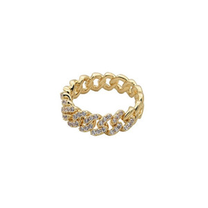 Ring rings Korean versatile design rings Love ring for girlfriend fashion popular gold silver Flash drill chain ring