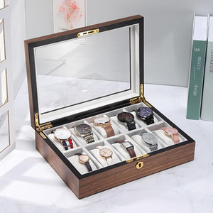 Wooden Watch Box Large Capacity Storage Metal Jewelry Wooden Box Walnut Watch Display Storage Case Watch Holder Gift Boxes SEA HWC6015