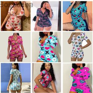 Kadın Tulumlar Tasarımcı Kısa Tulum Pijama Onesies Bodysuit Egzersiz Düğmesi Aşk Leopar Baskılı V Yaka Bayanlar Gecelikler 826