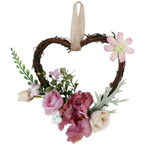 Party Mariage suspendu Guirlande Rattan Accueil Décoration Coeur Shape de style Europe Couronne Festive Couronne Mur Artificielle Rose