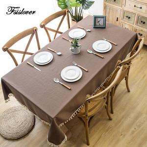 Fsislover Table de table décorative imperméable Tassel et nappe en dentelle rectangulaire gastronomie Brown Polyester Table Couverture Tafelkleed