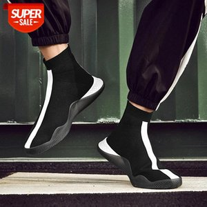 HKXN 2020 Spring Men's High Top Sock Shoes Men Sneakers Comfortable Knitted Weaving Sneaker Flats Trainers T Mens Casual Shoes #PS0L