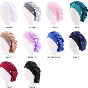 2021 Womens Mask Hats Stretch Wide Brim Headband Satin Hair Care Hat With Button Headwrap For Ear Mask Holder Hairlace Hair Boutique G12303