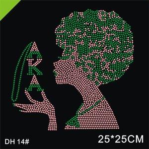Free shipping Afro AKA Fashion Afro Girl With Deta Sigma Theta Rhinestone Transfer Custom Design For T-shirt. DH14#