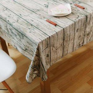 Table Cloth Retro Wood Grain Pattern Creative Tablecloth Cotton Linen Coffee Bar Decorative Cloths Dining Covers For Kitchen Home