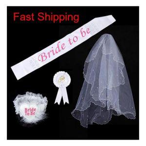 Bride To Be Set Rosette Mantilla Badge Sash Garter Veil Tiara Hen Night Bachelorette Wedding Party Props White Festive Event Supplies Uvhni