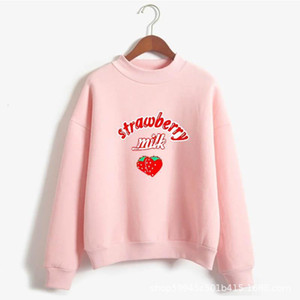 Harajuku Kawaii Strawberry Hoodie Sweatshirt Women 2021 Korean Fashion Kpop Street Style Sweatshirts Schoolgirl Streetwear