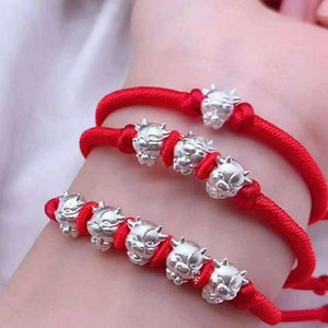 New pure silver wufuniu bracelet, red hand rope, 3D hard silver, children's year of the ox gift