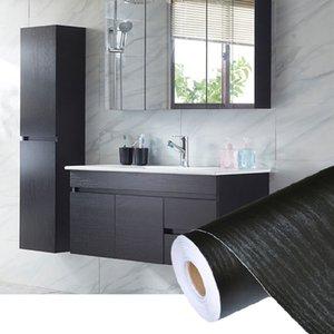 ПВХ самоклеящийся водонепроницаемый черный дерево обои рулона для мебели Дверь настольные шкафы гардероб стена контактная бумага