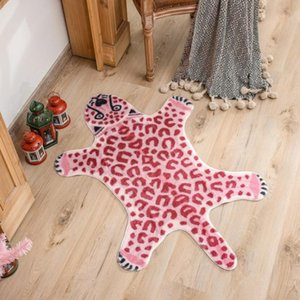 Carpets Pink Leopard Pattern Rug Non Slip Area Washable Animal Print Carpet For Living Room Mats Bedroom Alfombra Para Cocina