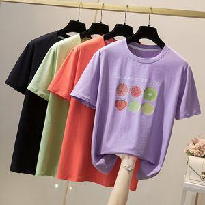 Plus Size T-shirt for Women Summer Cotton T-shirt Round Collar Casual Tshirt Fashion Trend Loose Big Size Girl Tshirt