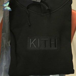 Новая Вышивка Kith Hoody Розовая Черная Пара Платье Толстовки Толстовки Оригинальные Теги Этикетки