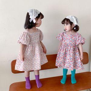 DUDU Newest Quality INS Kids girls foral backless dress Children puff sleeve princess dresses summer Boutique Kids Clothing