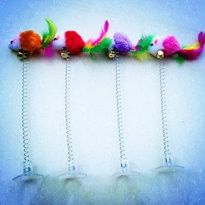 Swing souris coloré Sucker Spring Tease Cat Stick avec Bell Pet Jouet