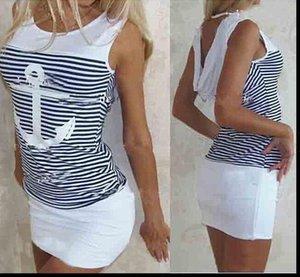 Summer Slim Bag Hip Ancora a strisce Ancoraggio stampato Dress da donna Sexy 2021 New Fashion Bliberless Abiti femminili Abiti Vestidos Abbigliamento
