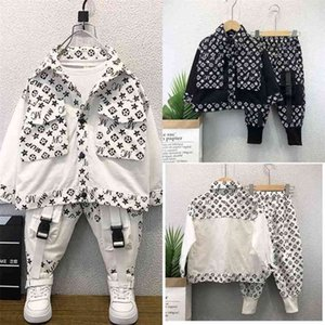 Autumn Winter Kids Children Boy Shirt Jacket Coat Set Designers Cool with Knee Pocket Dungarees Pants Two piece Outfits Sports Tracksuit Boutique Clothing L91402C