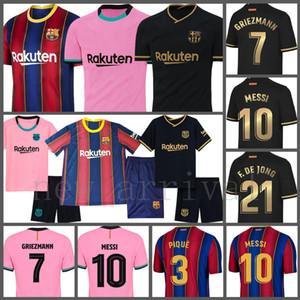 ميسي لكرة القدم جيرسي أ. إينيستا لكرة القدم قميص F. de Jong Mailleot De Foot Grizmann Men's Barcelona I.Akitic Ansu Fati Suarez Dembele