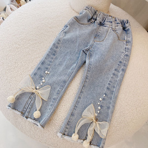 2021 New Spring Girls Clothes Fashion Design Pearl Denim for Child Girl Baby Cloth Elastic Birthday Pants Jeans Idec