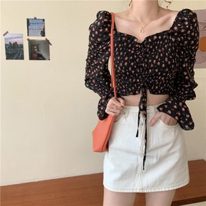 Donne Summer Sexy Stylish Cowoundstring Flare Long Manica Floral V Neck Top Blouse Donne Donne Tshirt