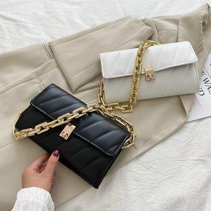 New Fashion PU Leather Sling Handbag Purse Women Elegant Chain Shoulder Bag Popular Simple Female Daily Bags Brand Underarm Bag C0224