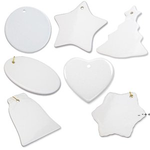 7 Style Sublimation Blank White Ceramic Pendant Creative Christmas Ornaments Decorations Heat Transfer Printing DIY Crafts FWF11107