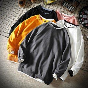Men's Hoodies & Sweatshirts Harajuku Hoodie Men Autumn Tops Long Sleeve Shirt Loose Fit Solid Color O-neck Crewneck Sweatshirt Fashion Cloth