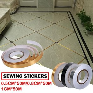 Wall Stickers 50 Meters Mold Proof Gap Tape Self Adhesive Seam Line Paste Gold Foil Floor Tile Ground Strip Home Decor