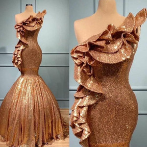 2021 Rose Gold Sequins Evening Dresses Ruffles One Shoulder Mermaid Floor Length Custom Made Prom Party Ball Gown Plus Size vestido