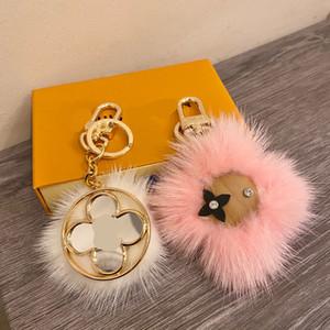 Hot Fashion Brand Fluff Monograms Keychain Classic Chic Keyring Women Men Luxury Car Pendant Unisex Designer Key Chain Trinket Jewelry