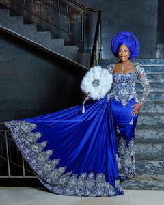 2021 Royal Blue Crystal Formal Dresses Long Sleeves Mermaid Satin Beadings Custom Made Long Women Aso Ebi Evening Gowns