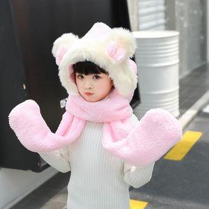 Scarves & Wraps Autumn Winter Ear Children Scarf Lovely Girl Boy Beanie Cap Warm Plush Hat Glove Set Thick Hat+Hooded Soft