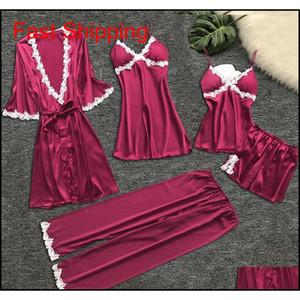 Gym Clothing 5 Pieces Pajama Sets Flower Printing Pajamas Nightgown Silk Sleepwear Nightdress Underwear Robes Set Satin Pyjamas Women Mh72U