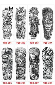 DHL Black Forest Tattoo Sticker For Men Women Children Tiger Wolf Death Skull Temporary Tattoo Fake Henna Skeleton King Animal Tatoo