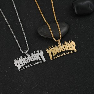 Pendant Necklaces Christmas Jewelry Hip-hop Titanium Steel Flame Letter Necklace Street Jumping Accessories For Mens