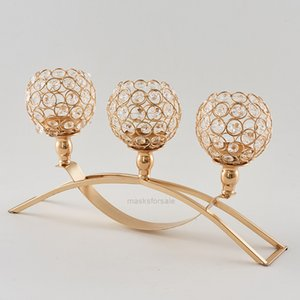 Crystals 3-Arms Gold Silver Color Holders with Candle Stand Pillar Candlestick for Wedding Party Decor CandelabraXHO4UN
