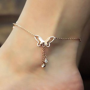 Anklets Butterfly Pendant Foot Chain Yoga Summer Beach Gold Silver Color Bracelet For Women Jewellery
