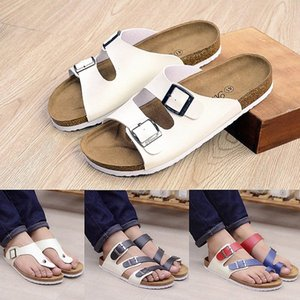 2016 Nuevo Unisex Verano Sandalias Sandalias Casual Mujeres PU Cuero Color Mixto Flip Flaops Valentine Zapatos Cork Zapatillas Sandalias Mujer E65M #
