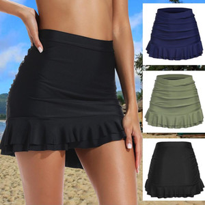 Swimsuit Mulheres 2021 Contornado Bikini Bottom Wisisted Shirred Bottom Ruffles Swimwear Swim Skirt Mulheres Natação Terno