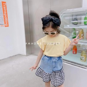 Cute Girls Letter Tops+Denim Skirts Outfits Summer 2021 Kids Boutique Clothing Korean 2-7T Girls Short Sleeves 2 PC Set