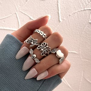 Personality Ring Dark Silver Luminous Band Ring Ladies Friend Gift Vintage Fashion Jewelry 2021 Five Piece Set