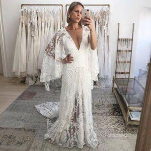 New Bohemian Wedding Dresses 2021 Deep V Neck Bell Long Sleeve Lace Open Backless Beach Boho Bridal Gowns Vestido de Novia