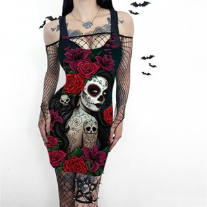 3d Halloween Party Schedel Flower Print Y2k Es Women Mouwlless Punk Gothic Harajuku Jurk Sexy Street Ladies Clothing