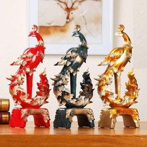 37cm Europeo Creativo Phoenix Ornament Decoración del hogar Artesanía TV Gabinete Oficina Estatuas Accesorios Regalo de boda Figurines