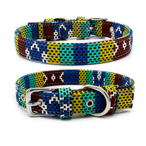 wholesale Fashion canvas Colorful print dog collars Adjustable pin buckle Dog Collars Rings Pet dog Supplies