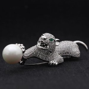Pins, Brooches Zlxgirl Men's Leopard Animal Jewelry Perfect Cubic Zircon Brooch And Pendant Copper Men Hijab Pins